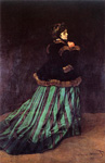 Painting Camille or The Woman in a Green Dress by Claude Monet